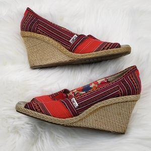 Toms Red Peep Toe Wedges 8.5 W